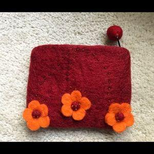 Handbags - Small Icelandic red felt zippered coin purse